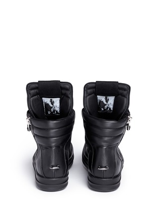 Back View - Click To Enlarge - Rick Owens - 'Geobasket' leather high top sneakers