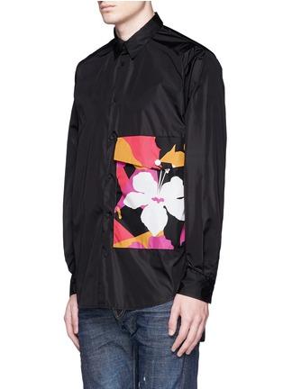 Front View - Click To Enlarge - 71465 - Floral pocket windbreaker shirt jacket