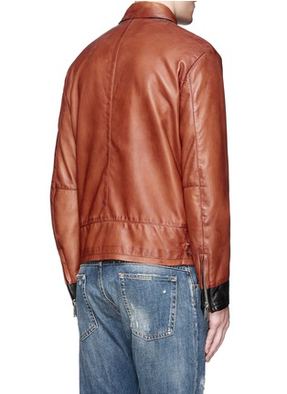 Back View - Click To Enlarge - Dsquared2 - Palm tree appliqué sheepskin leather bomber jacket