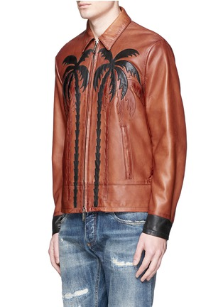 Front View - Click To Enlarge - Dsquared2 - Palm tree appliqué sheepskin leather bomber jacket