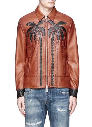 Main View - Click To Enlarge - Dsquared2 - Palm tree appliqué sheepskin leather bomber jacket