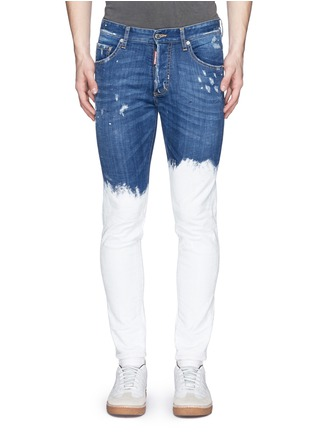 Detail View - Click To Enlarge - Dsquared2 - Paint dip distressed skinny jeans