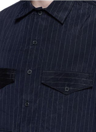 Detail View - Click To Enlarge - Song for the Mute - Crinkled pinstripe pocket shirt