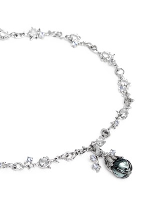 Figure View - Click To Enlarge - HETING - 'Dewdrop' pearl flower bud sapphire 18k white gold necklace