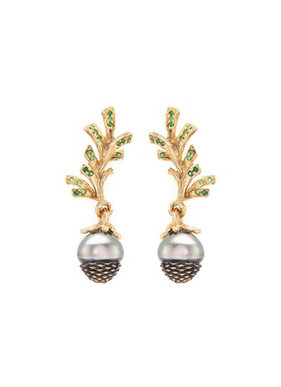Main View - Click To Enlarge - Heting - 'Pinecone' Tahitian pearl tsavorite 18k yellow gold drop earrings