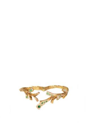 Main View - Click To Enlarge - Heting - 'Pinecone' tsavorite 18k gold two finger ring