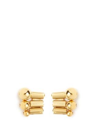 Main View - Click To Enlarge - Ela Stone - 'Barbara' sphere watch chain stud earrings