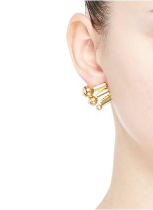 Figure View - Click To Enlarge - Ela Stone - 'Barbara' sphere watch chain stud earrings