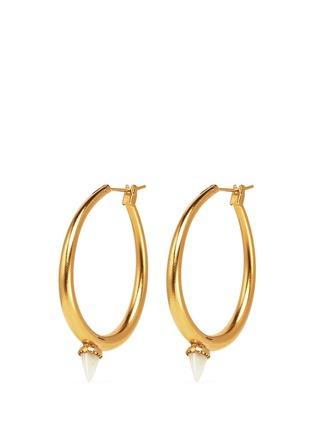 Main View - Click To Enlarge - Ela Stone - 'Jenny' mini jade spike hoop earrings