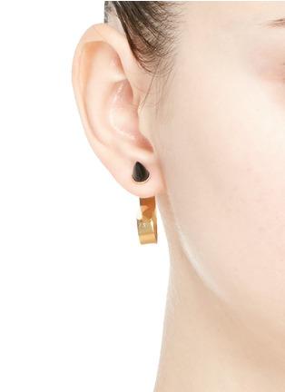 Figure View - Click To Enlarge - Ela Stone - 'Marla' onyx stud hoop earrings