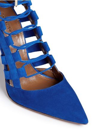 Detail View - Click To Enlarge - Aquazzura - 'Amazon' caged suede pumps