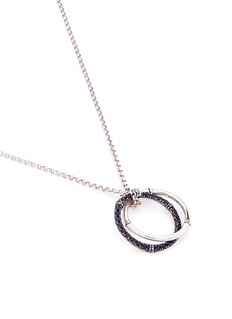 John Hardy Sapphire silver interlocking bamboo ring medium pendant necklace