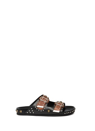 Main View - Click To Enlarge - Givenchy - Stud strass appliqué leather sandals