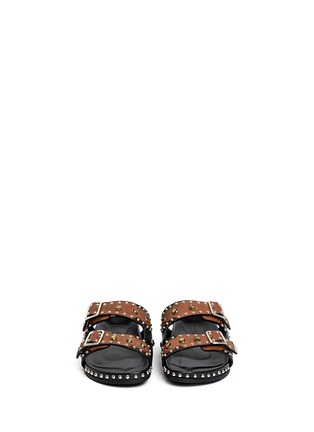 Figure View - Click To Enlarge - Givenchy - Stud strass appliqué leather sandals