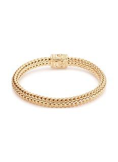 John Hardy Diamond 18k yellow gold medium woven chain bracelet