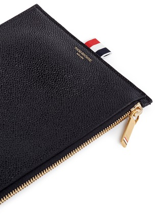 Detail View - Click To Enlarge - THOM BROWNE - Pebble grain leather large zip coin pouch