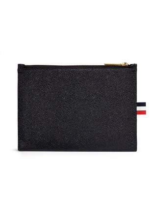 Figure View - Click To Enlarge - THOM BROWNE - Pebble grain leather large zip coin pouch