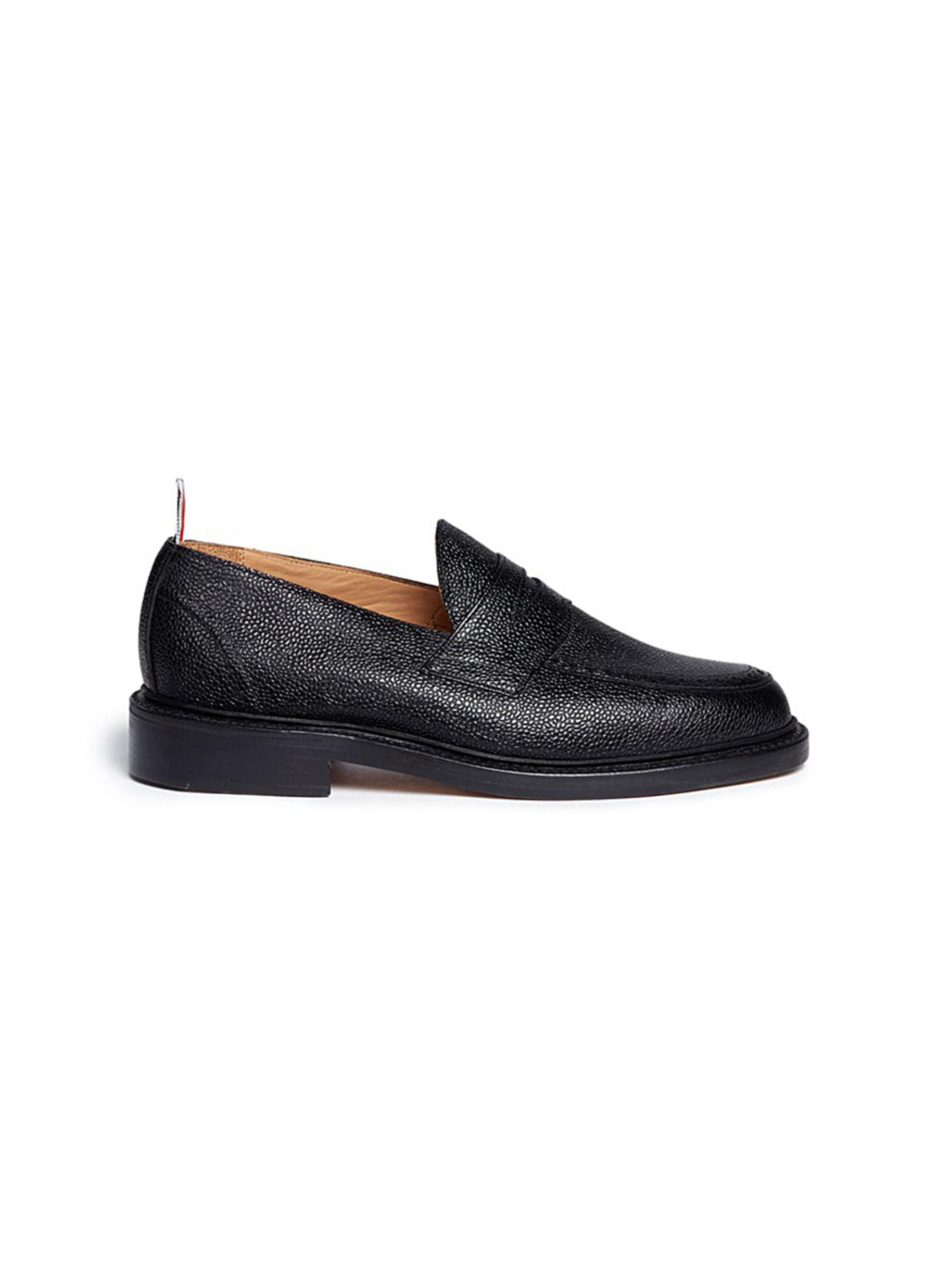 Pebble grain leather penny loafers by Thom Browne