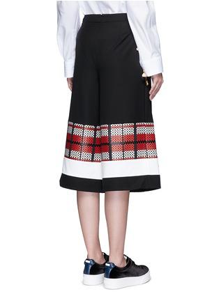 Back View - Click To Enlarge - CYNTHIA & XIAO - Textured tartan colourblock culottes