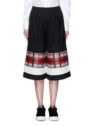 Main View - Click To Enlarge - CYNTHIA & XIAO - Textured tartan colourblock culottes