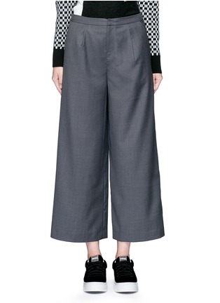 Main View - Click To Enlarge - Cynthia & Xiao - Wide leg wool blend cropped pants