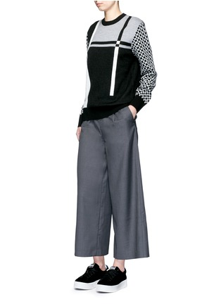 Figure View - Click To Enlarge - Cynthia & Xiao - Wide leg wool blend cropped pants