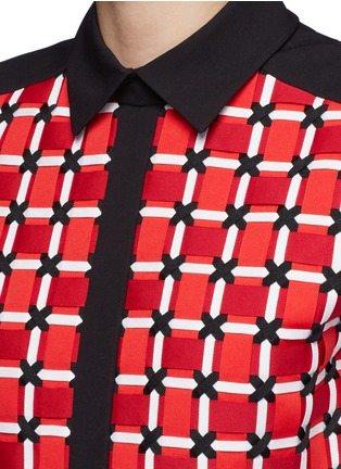 Detail View - Click To Enlarge - CYNTHIA & XIAO - Woven ribbon front flounce hem shirt dress