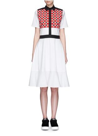 Main View - Click To Enlarge - CYNTHIA & XIAO - Woven ribbon front flounce hem shirt dress