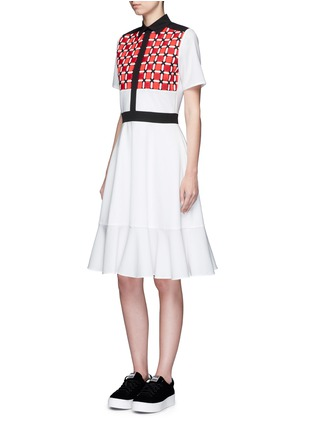 Figure View - Click To Enlarge - CYNTHIA & XIAO - Woven ribbon front flounce hem shirt dress