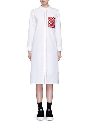 Main View - Click To Enlarge - Cynthia & Xiao - Woven ribbon pocket long cotton shirt dress