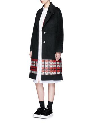 Figure View - Click To Enlarge - Cynthia & Xiao - Woven ribbon pocket long cotton shirt dress
