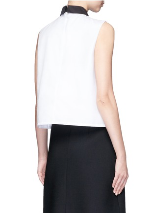 Back View - Click To Enlarge - Cynthia & Xiao - Woven ribbon bib sleeveless cotton shirt