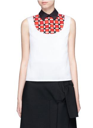Main View - Click To Enlarge - Cynthia & Xiao - Woven ribbon bib sleeveless cotton shirt
