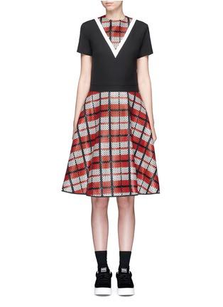 Main View - Click To Enlarge - Cynthia & Xiao - Textured tartan print V-neck flared dress