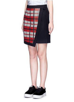 Front View - Click To Enlarge - Cynthia & Xiao - Textured tartan asymmetric wool cashmere blend skirt