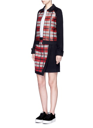 Figure View - Click To Enlarge - Cynthia & Xiao - Textured tartan asymmetric wool cashmere blend skirt