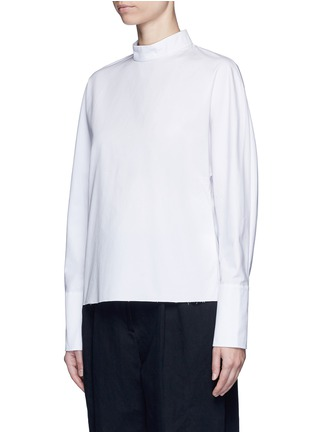 Front View - Click To Enlarge - FFIXXED STUDIOS - 'Meiyijia' raw edged cotton poplin shirt