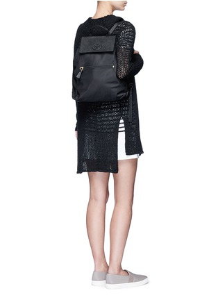 Figure View - Click To Enlarge - Tory Burch - 'Ella' packable saffiano leather flap nylon backpack
