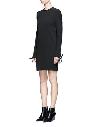 Front View - Click To Enlarge - Balenciaga - Bow cuff silk cady dress