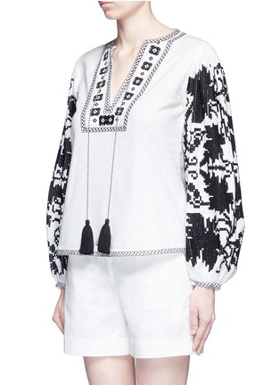 Front View - Click To Enlarge - Talitha - 'Salma' tribal grapevine embroidered peasant blouse