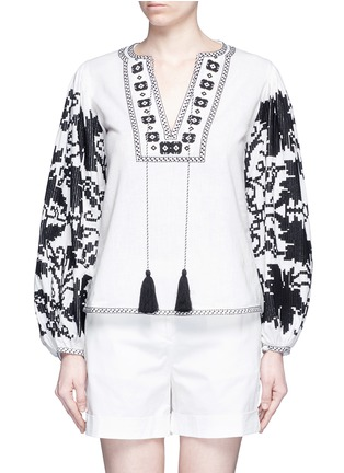 Main View - Click To Enlarge - Talitha - 'Salma' tribal grapevine embroidered peasant blouse