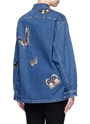 Back View - Click To Enlarge - Valentino - Embroidered butterfly appliqué denim shirt jacket