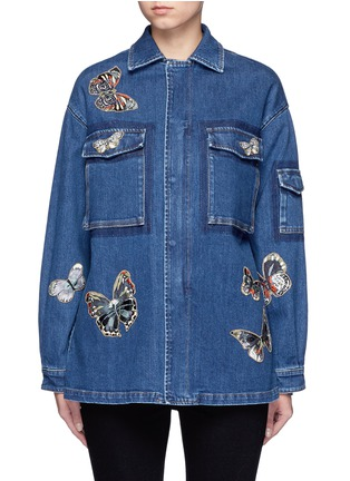 Main View - Click To Enlarge - Valentino - Embroidered butterfly appliqué denim shirt jacket