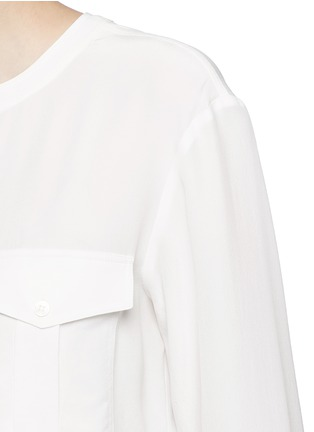 Detail View - Click To Enlarge - Theory - 'Damaris' banded collar utility silk shirt