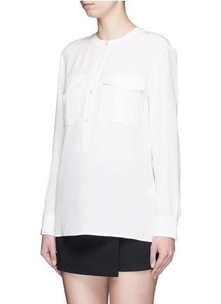 Front View - Click To Enlarge - Theory - 'Damaris' banded collar utility silk shirt