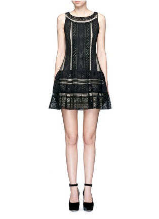 Main View - Click To Enlarge - alice + olivia - 'Wendie' geometric embroidery boat neck dress