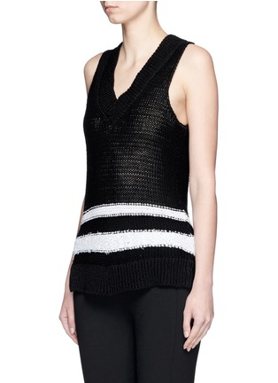 Front View - Click To Enlarge - rag & bone - 'Dina Halter' stripe chunky knit sleeveless top
