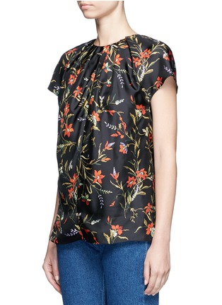 Front View - Click To Enlarge - Balenciaga - Floral print silk twill top