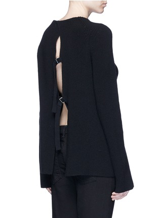Back View - Click To Enlarge - Helmut Lang - Belted open back cotton-cashmere sweater