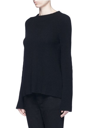 Front View - Click To Enlarge - HELMUT LANG - Belted open back cotton-cashmere sweater
